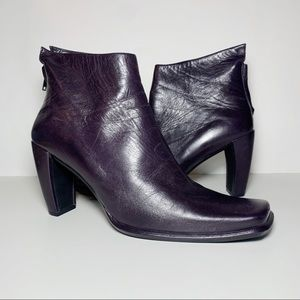 Dark Purple Leather Square Toe Ankle Booties Heel